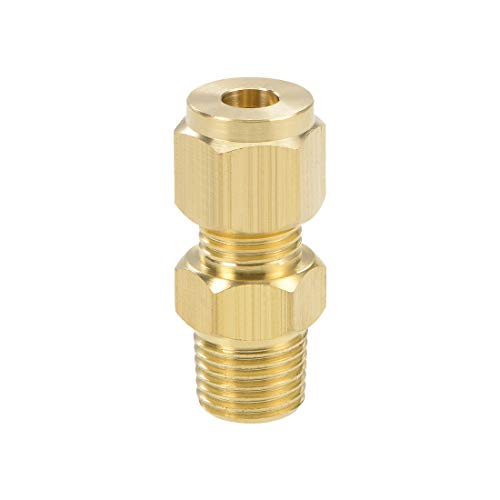 sourcing map Messing Klemmringverschraubung 6mm OD 1/4 NPT Stecker Gewinde Rohr Adapter -