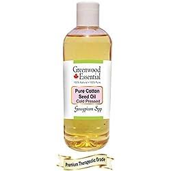 Huile de graine de coton pure Greenwood Essential (Gossypium spp) 100% naturelle, de qualité thérapeutique, pressée à froid 200ml (6,76 oz)