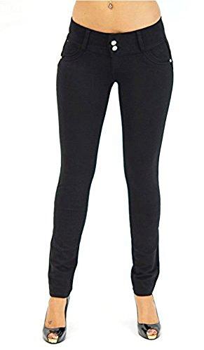 Minetom Damen Herbst Winter Slim Hip Push Up Elastische Legging Fitness Bleistift Hosen Casual Skinny Jeans Denim Pants Schwarz EU M (Jeans Schlank Skinny Gerade)