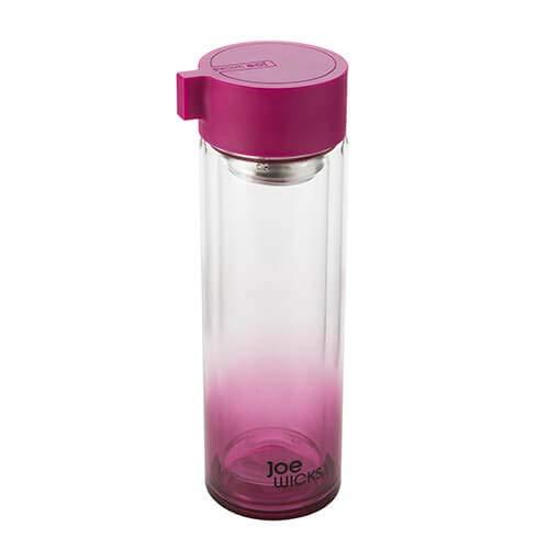 Joe Wicks Trinkflasche aus Kristallglas, 350 ml, Himbeerrot