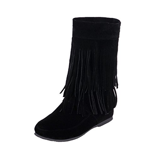 Europa QXL Fringe black stivali Boot aumentata Stati e codice scarpe scrub Uniti ZQ manicotto gli wR51nd6wq