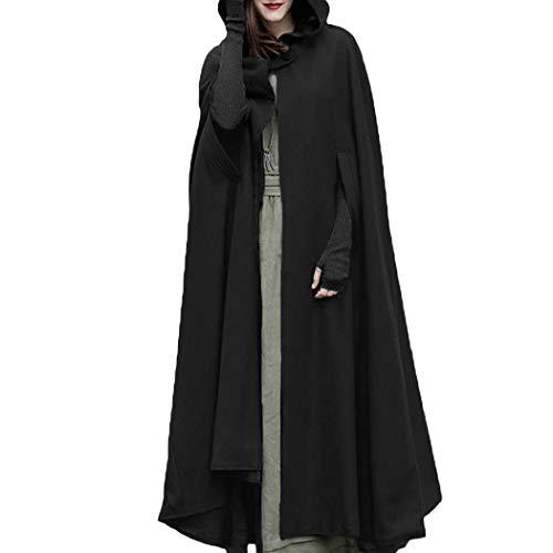 Damen Gotisch Umhang mit Kapuze Poncho Kap Trenchcoat -