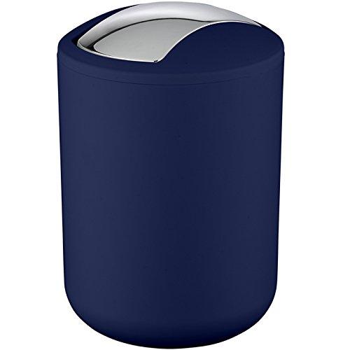 Wenko 22520100 Schwingdeckeleimer Brasil dunkelblau S, Kosmetikeimer, Mülleimer, bruchsicher, Fassungsvermögen: 2 l, Thermoplastischer Kunststoff (TPE), 14 x 21 x 14 cm, dunkelblau