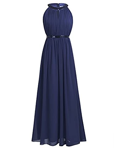 iEFiEL Damen Kleider Elegant festlich Hochzeit Sommer Kleider Lang Chiffon Abendkleid Party Kleid Cocktailkleid Gr. 36-46 Marineblau 46 (Herstellergröße: 16)