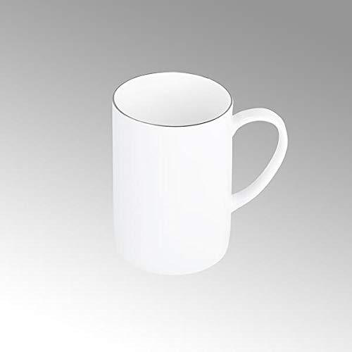 Lambert Serene, Kaffeebecher, rund Fine Bone China, weiß mit Platinrand D 8 cm, H 11 cm 21553
