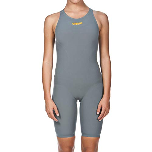 ARENA Damen Powerskin R-evo One Swim Suit-Open Back Badeanzug, Grey/Bright Orange, 28