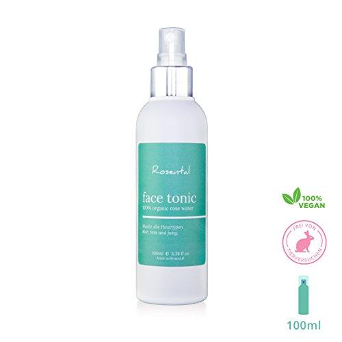 Rosental Organics Rosenwasser Gesichtsspray, 100 Prozent rein, tonisierendes Gesichtswasser, bio, vegane & tierversuchsfreie Naturkosmetik für alle Hauttypen, 100ml