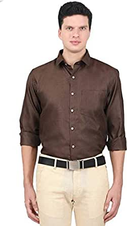 ONCHU Men's Solid Formal Shirt (36, Brown)