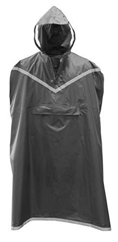 Rubberneck Regenponcho Unisex - Kapuze mit Sichtfenster, Reflektionsstreifen (L-XXL) Grau