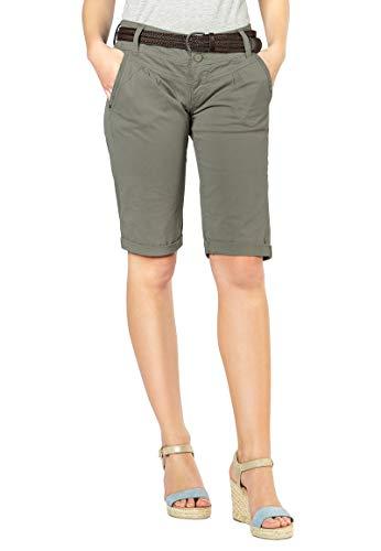 1e72b86780f81a Fresh Made Bermuda Estivi da Donna | Pantaloni Chino Corti con Cintura  Intrecciata | Pantaloncini Basic