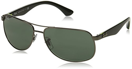 Ray Ban Herren Sonnenbrille RB3502 Matte Gunmetal/Crystal Green One size (61)