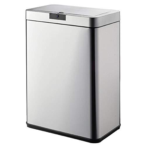 O'daddy 50 Liter-Mülleimer ausgestattet mit Einem Sensor, Abfallbehälter aus hochwertigem Edelstahl. Automatisch funktionierender Entsorgungsbehälter mit Bewegungssensor. (Edelstahl) 50 Sensor