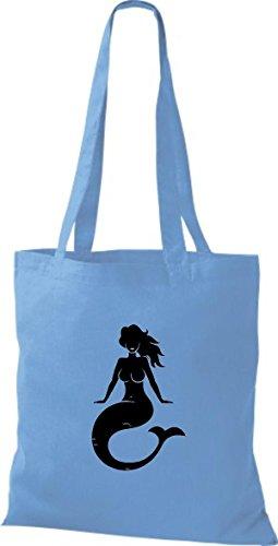 T-shirt Di Stoffa In Cotone Borsa A Vela Sirena Blu Chiaro