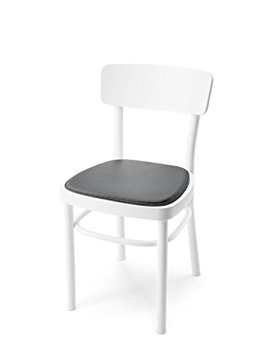 HILLMANN LIVING Sitzkissen IKONICA - Stuhlkissen mit gängiger Form aus Leder für Stühle im Indoor- und Outdoor-Bereich, rutschfeste Beschichtung, 36,5 cm x 38,5 cm x 1 cm (anthrazit / COAL ANTHRACITE)