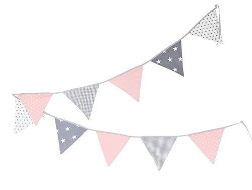 (ULLENBOOM ® Wimpelkette Rosa Grau (Stoff-Girlande: 3,25 m, 10 Wimpel, farbenfrohe Dekoration für Kinderzimmer & Baby Geburtstage, Motiv: Sterne))