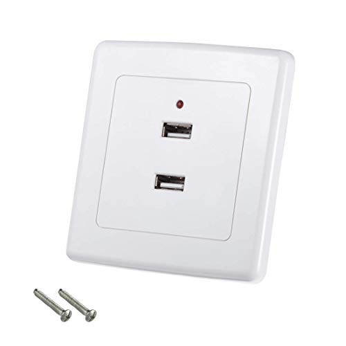 ZCHXD 2-Port Dual USB Wall Plate Charger Outlet Mount Socket Face Plate Cover Panel 86 Type Dual-outlet Wall Plate