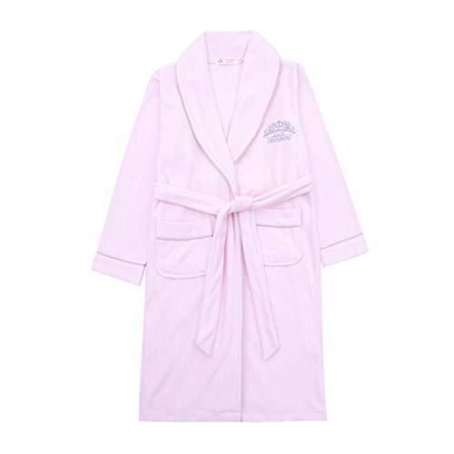 Vestido de Noche Toalla de baño para niños Toalla de algodón Albornoz niña Otoño e Invierno Bata de baño Chico Grande (Color : Pink, Size : 110CM)