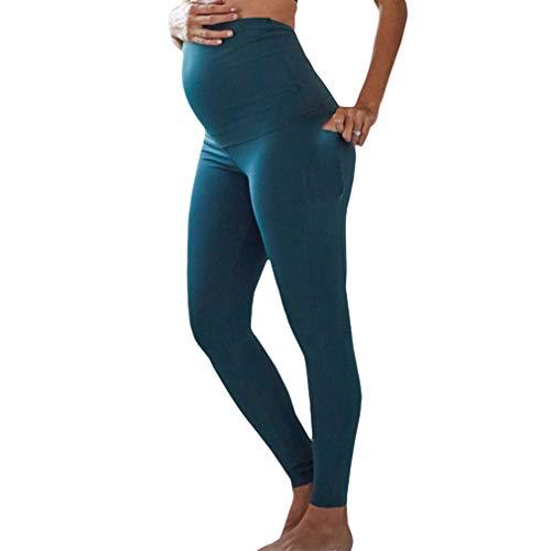 Mxssi Damen Umstandsmode Leggings Elastische Hohe Taille Schwangerschafts Leggings Bequem Umstandsmode für den Alltag und Sport Schwanger -