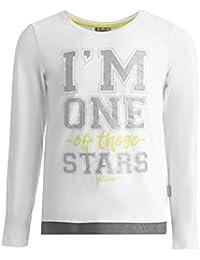 GULLIVER - Camiseta de manga larga para niña, con lentejuelas, color blanco