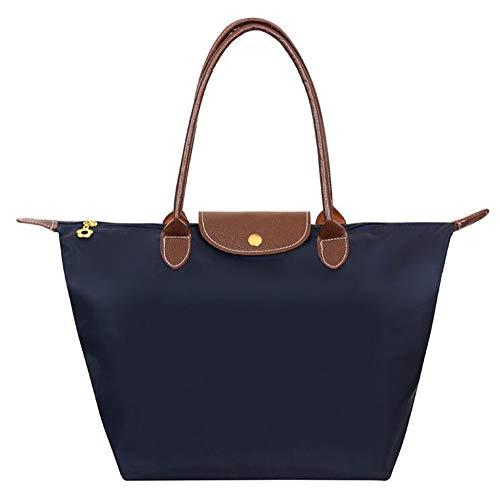 EXQULEG Tragetasche, Schultertaschen Damen Wasserdichte Handtaschen aus Nylon Umhaengetasche Strand Tasche (medium, dunkelblau)