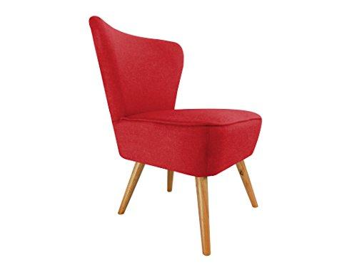 Pro D TTM Designer Accent geschwungene Stoff Leinen Tub Stuhl Sessel für Wohnzimmer Esszimmer Empfang Rot - Stuhl Designer Stoff