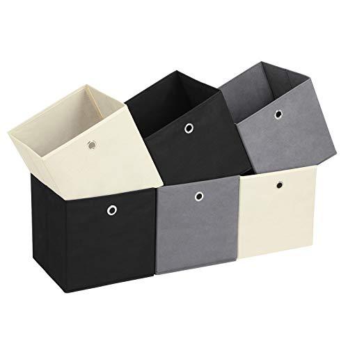 Songmics set da 6 scatole portaoggetti, contenitori in tessuto non tessuto, cesti organizzatori pieghevoli per giocattoli, abiti, 2 grigi, 2 neri, 2 beige rfb06ghm