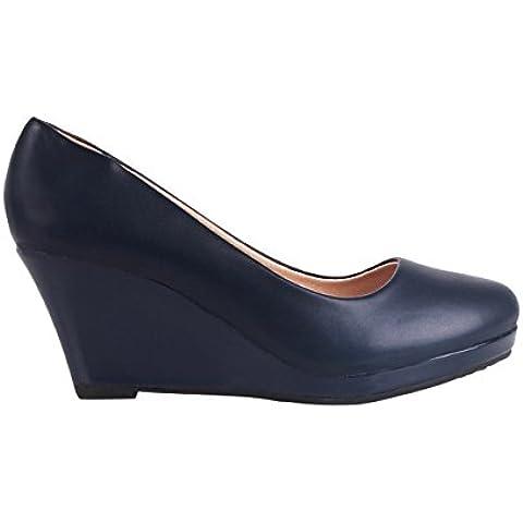 Zapatos Mujer Tacto Piel con Tacón Cuña de Charol Diseño Elegantes Nueva Temporada