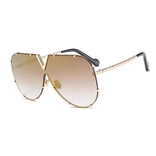 ZHOUYF Sonnenbrille Fahrerbrille Sonnenbrille Herren Markendesigner Metallrahmen Große Sonnenbrille Damen Top Fashion Brille Uv400 Spiegel, A