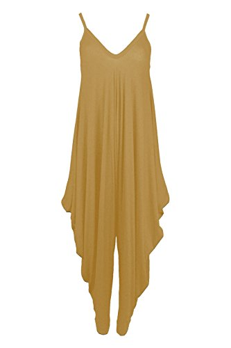 Samantha's Femmes Bonnet Mou compatible avec Plage/Combinaison De Soirée Col V Caraco En vrac Drapé Costume Harem Chameau