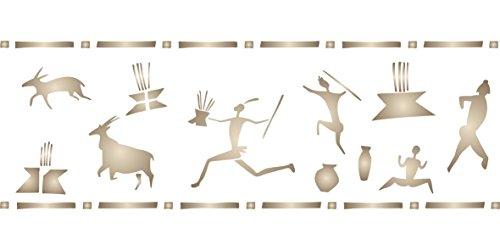 San Menschen Art Schablone–52x 16,5cm–wiederverwendbar afrikanischen Wand Höhle Zeichnungen Bordüre Schablonen für...