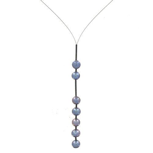 Schmuck-Les-Poulettes-Perlenkette-Stahlseil-2-5-Grau-Swasserperlen-6-mm