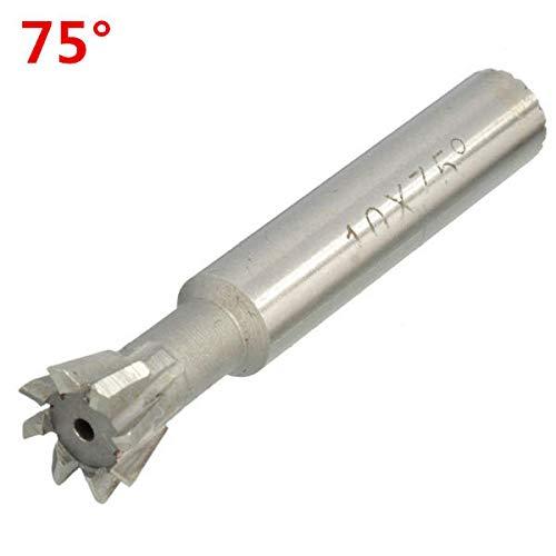 10mm HSS Straight Shank Dovetail Groove Slot Cutter End Mill CNC Bit 45 55  60 70 75 Degree - 75°
