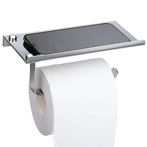 Toilettenpapierhalter, Toilettenpapierhalter Edelstahl Klopapierrollenhalter Wandhalterung Klorollenhalter WC Klopapierhalter Papier Halterung Rollenhalter mit Ablage