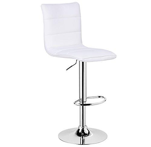 Woltu bh15ws-1 1 x sgabelli da bar sedia cucina con schienale poggiapiedi similpelle cromato gomma antiscivolo altezza regolabile girevole moderni bianco