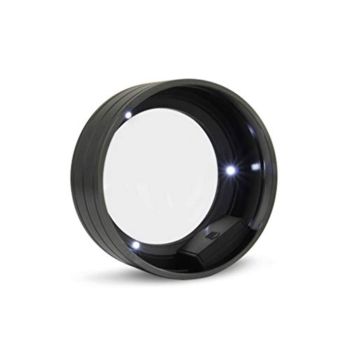 3 LEDs Zylinder Lupe Mit Licht Handheld 5 mal Desktop Alte Männer Kinder Lesen Juwelier Tragbare 90mm Lupe (Color : Black) -
