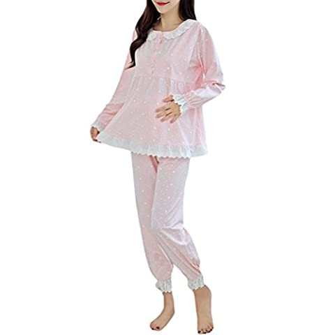 Zhhlaixing Womens Cotton Maternity Nursing Pajama Set Breastfeeding Pjs Sleepwear