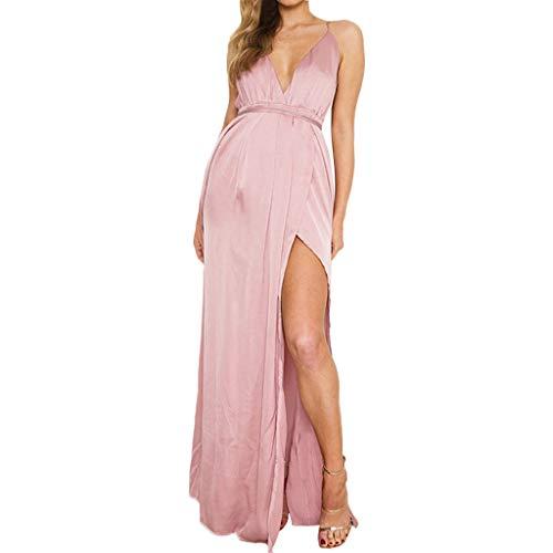 Der Lange Pullover Tank Kleid (Lonshell Tank Umstandskleid Lange Kleid Geteilter Partykleider Schwangerschafts Lässiger Umstandsmode Stretchkleid Elegant Rundhals Sleeveless Sommerkleid)