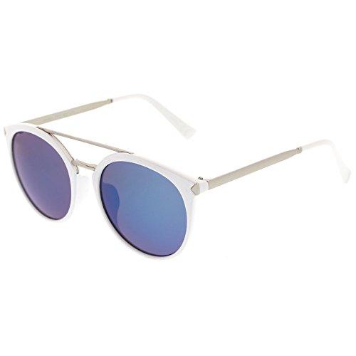 sunglassLA -  Occhiali da sole  - Aviatore - Uomo White-Silver / Blue Mirror Taglia unica