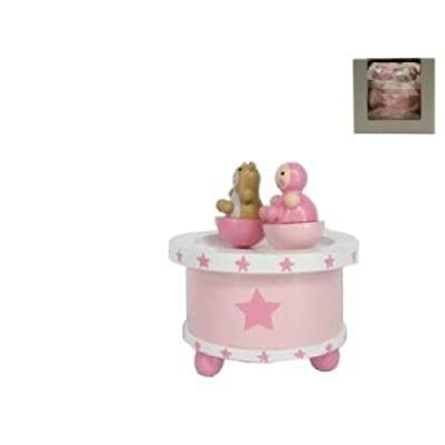 Gisela Graham stars spinning baby music box with teddy bear - pink