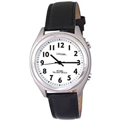 Gents Talking Wrist Watch - RNIB Approved Watch - watch that talks /speaks to you - tells you the time - Black leather strap