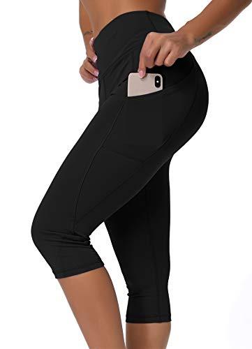 INSTINNCT Damen Doppeltaschen Sport Leggings 3/4 Yogahose Sporthose Laufhose Training Tights mit Handytasche Capris(normal) - Schwarz-1 L