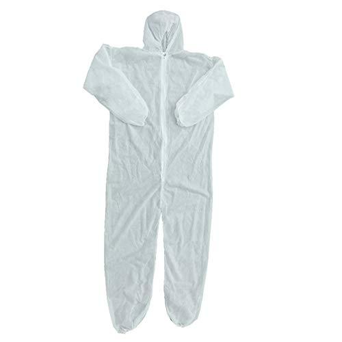 Protezione Antinfortunistica Tuta monouso Tuta Antipolvere Abbigliamento Isolante Tuta da Lavoro Non Tessuti Un Pezzo(Bianco L) Jasnyfall