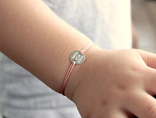Taufarmband Kommunion Babyarmband Kinderarmband Namensarmband Gravurarmband Kindernamen Personalisiertes Armband Einheitsgröße Symbol Fisch 925
