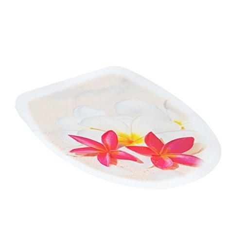 Gazechimp WC-Aufkleber Deckel für Toilettendeckel Badezimmer Toiletten Sitz Wandaufkleber DIY Dekor, 32x39cm - Blumen vinyl