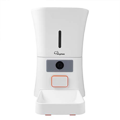 Comedero Automático de Mascotas Para Perros y Gatos 8L, MeijieM Wifi Inteligente Alimentador con 1080P HD Cámara con Visión Nocturna, Audio Bidireccional, APP Control Remoto con Temporizador