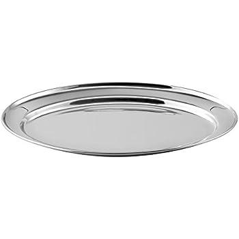Weis 25020 Servierplatte oval 20x15 cm, Edelstahl, Silber, 20 x 15 x 2 cm