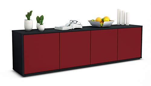 Stil.Zeit TV Schrank Lowboard Antonia, Korpus in Anthrazit Matt/Front im Exklusiven Bordeaux (180x49x35cm), mit Push-to-Open Technik, Made in Germany