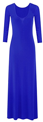 Neue Frauen Sommer des langer Ärmeln mit rundem Halsausschnitt Ausgestelltes Maxikleid 36-42 Royal Blue