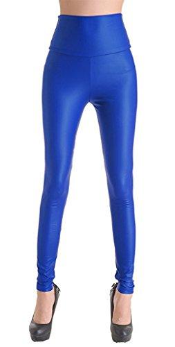 ZIOOER Mujeres PU Leggins Cuero Skinny Elásticos Leggings Pantalones Azul S