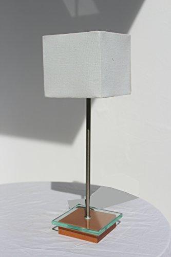 §§ Lampe de Table, Bureau, Chevet, à Poser. Design Contemporain en Bois Massif en Hêtre, verre et nickel. Abat jour - Tissu Effet Lin